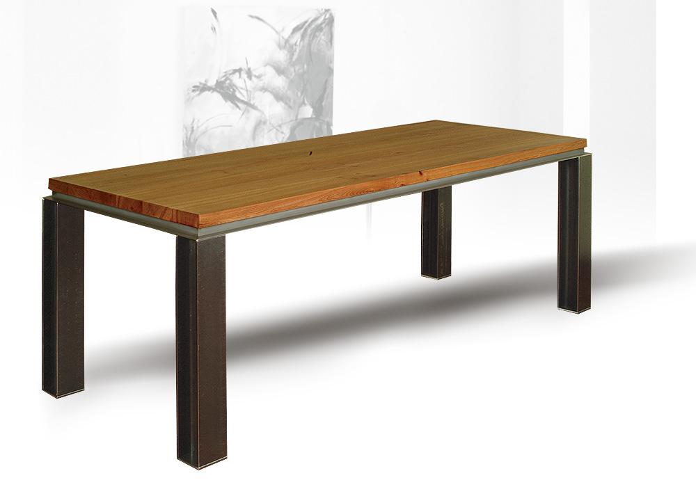 Buerotisch-Stahl-Holz