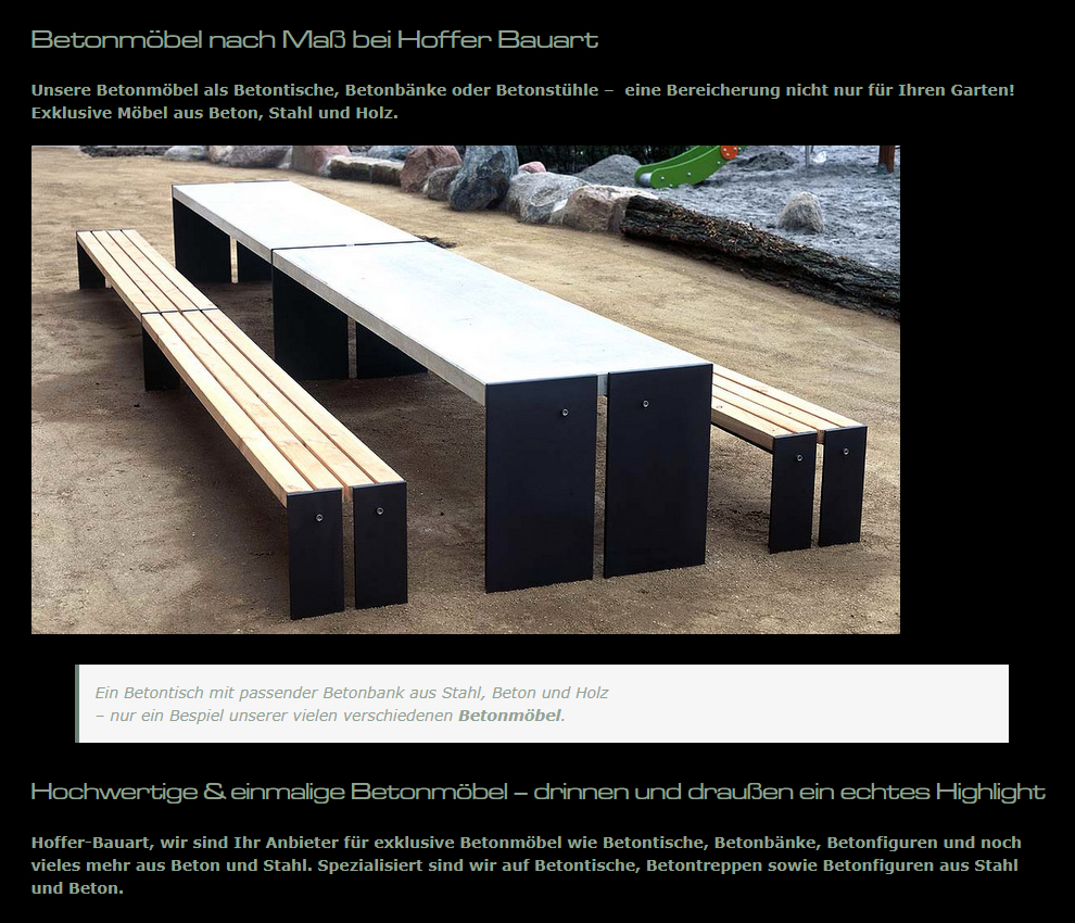 Betonmöbel: Betontische, Betonbänke, Betonstühle